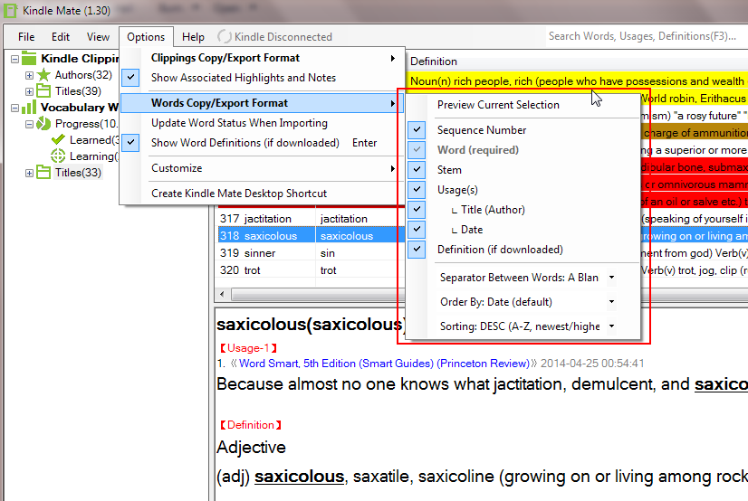 customize kindle words export format
